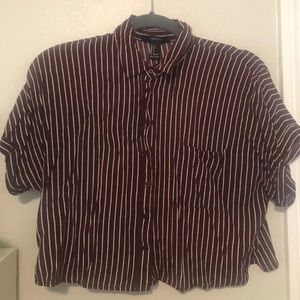 Burgundy striped button down crop top